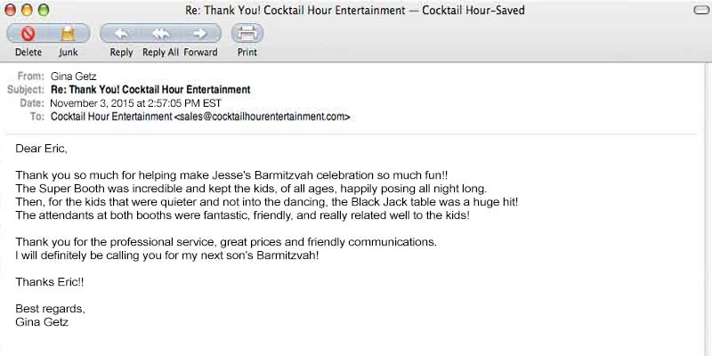 client letter review feedback cocktail hour entertainment