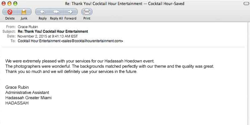 cocktail hour entertainment feedback review letter