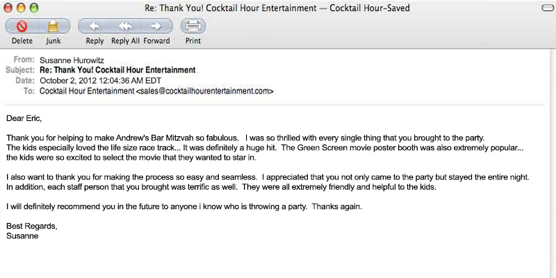 client letter feedback cocktail hour entertainment