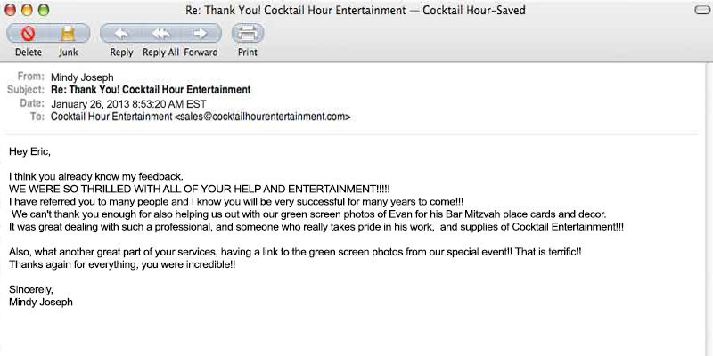cocktail hour entertainment client letter feedback eric cutler