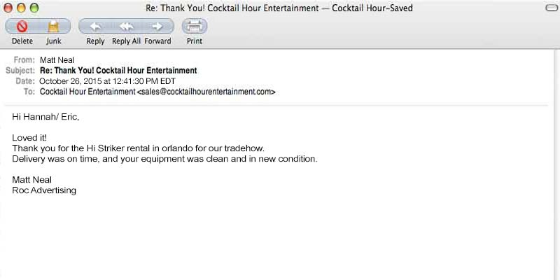 client letter cocktail hour entertainment feedback